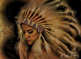 Carley modelling an Indian Headdress