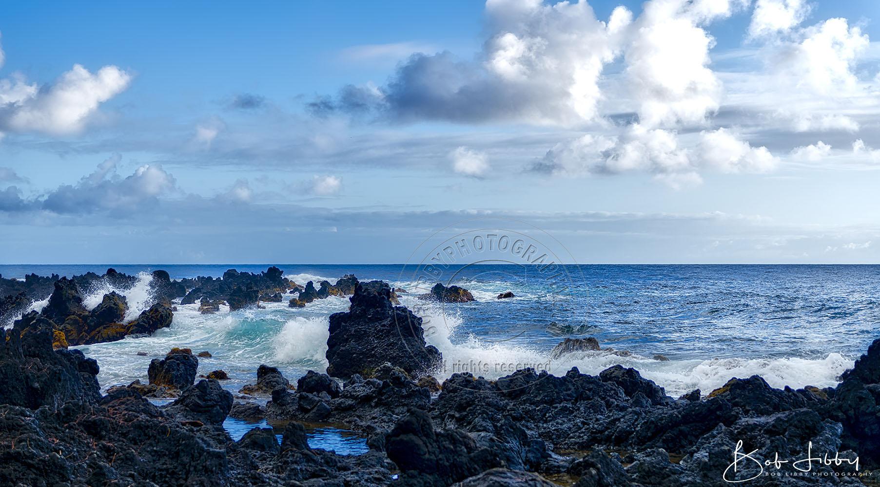 Hawaiian Seascape Lava Rocks